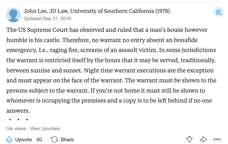 The US Supreme Court has observed and ruled that a man's house however humble is his castle. Therefore, no warrant no entry absent an bonafide emergency, I.e., raging fire, screams of an assault victim. In some jurisdictions the warrant is restricted itself by the hours that it may be served, traditionally, between sunrise and sunset. Night time warrant executions are the exception and must appear on the face of the warrant. The warrant must be shown to the persons subject to the warrant. If you're not home it must still be shown to whomever is occupying the premises and a copy is to be left behind if no one answers.