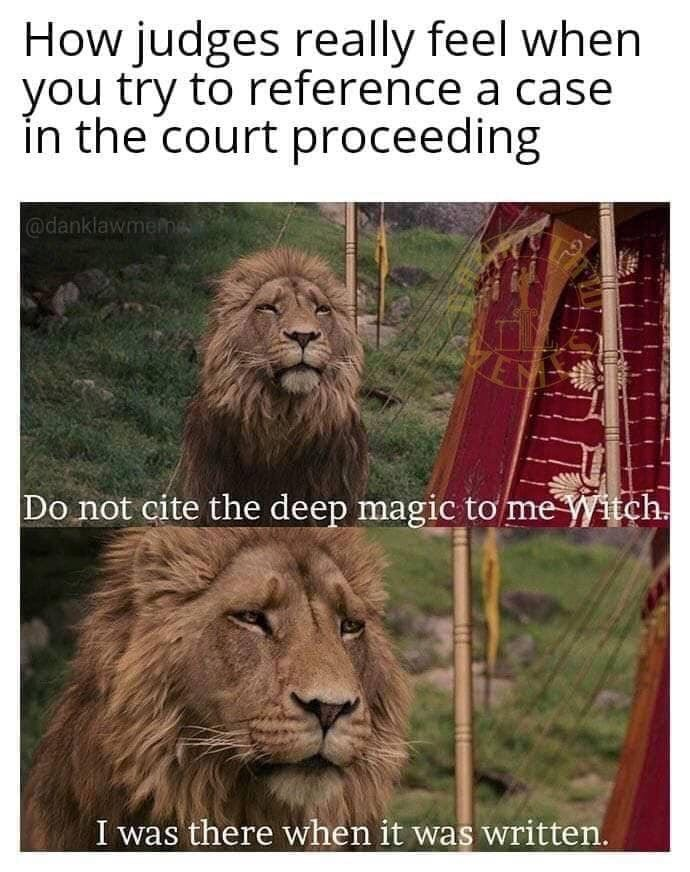 Court Meme Look, many judges haw been in the legal game a long time. And if you try to flatter them with legal knowledge, you may just make yourself out to be a fool. That is why I recommend standing laws from around the 1600's, no one will see it coming!