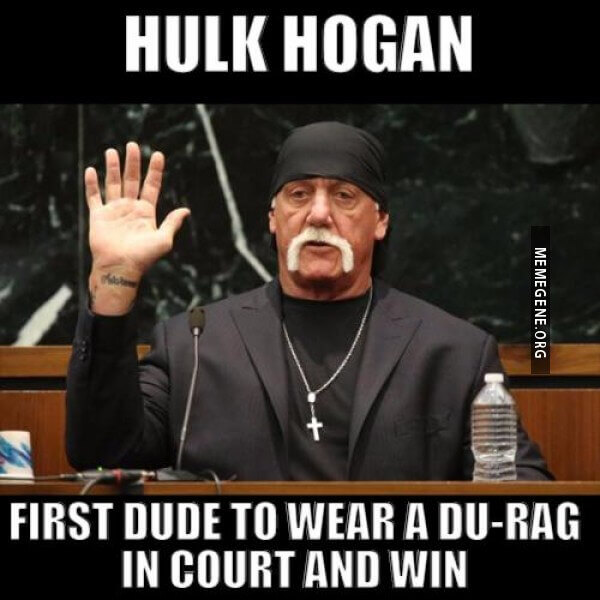 Celebrity Courtroom Meme Hulk Hogan is looking *on point* in this courtroom meme. And I say, good on you, brother, in a Hulk Hogany fashion.