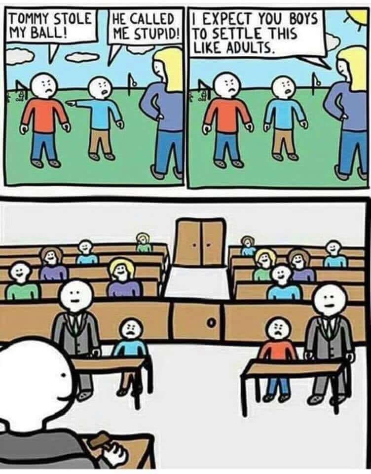 Courtroom Meme  This meme is written in classic cartoon format. It addresses relevant playground issues and it shows that they are educated with the law and that they're independent.