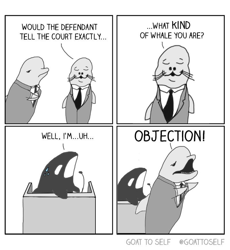 """Courtroom Meme This cast of characters shows lawyers how and when to properly object to  the prosecutions line of questioning. Also, if your name has """"killer"""" in it, maybe get that change. Consider something like """"Not Guilty""""."""
