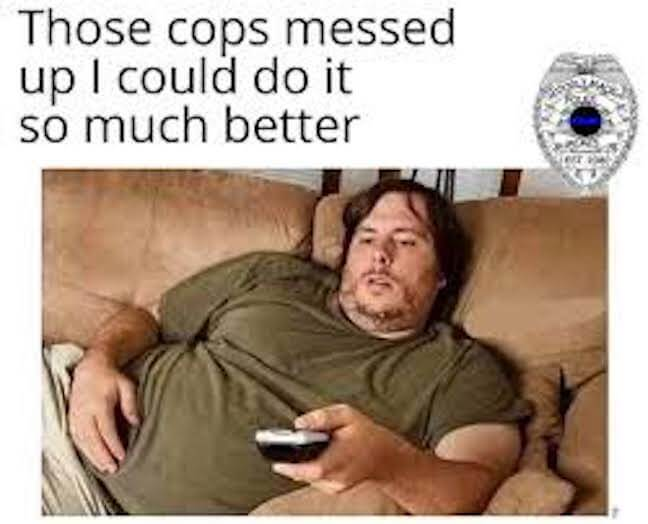 Category: Cop meme I have to admit. If I watch shows with people doing things and they mess up, I also have a tendency to judge them. Though, if anyone ever called me out for it, I'd definitely fail miserably.