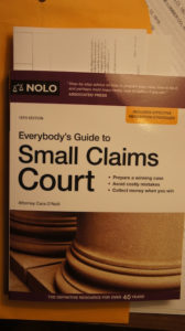 Small claims court book, how to file cases on your own and win.