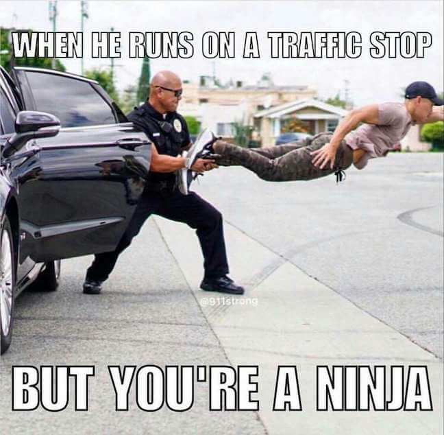 Category: Police meme Never try to outrun the police. This meme says it all. Even when you think you are going to get away, an officer will snatch you seemingly out of thin air if you run.