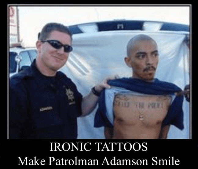 "Category: Police Meme This is another one of those ""instant regret"" memes. he seems like one of those guys from the last meme that talk such a big game out of cuffs. But then they plead for mercy later. At least he made Patrolman Adamson smile."