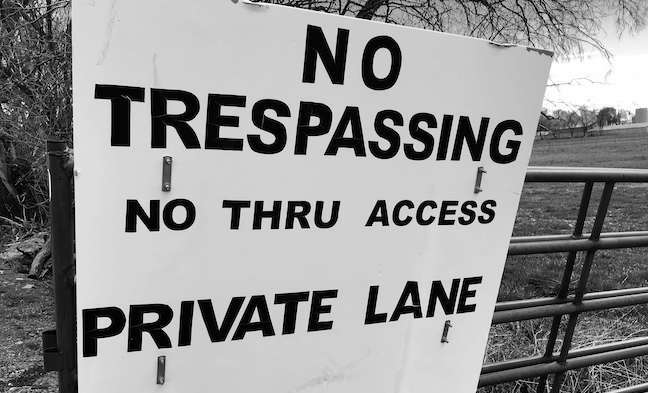 What is trespassing? Trespass refers to the intentional unauthorized use of land by other people, their animals, or vehicle.