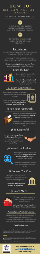 Represent yourself in court infographic with tips on how to win in court without a lawyer.