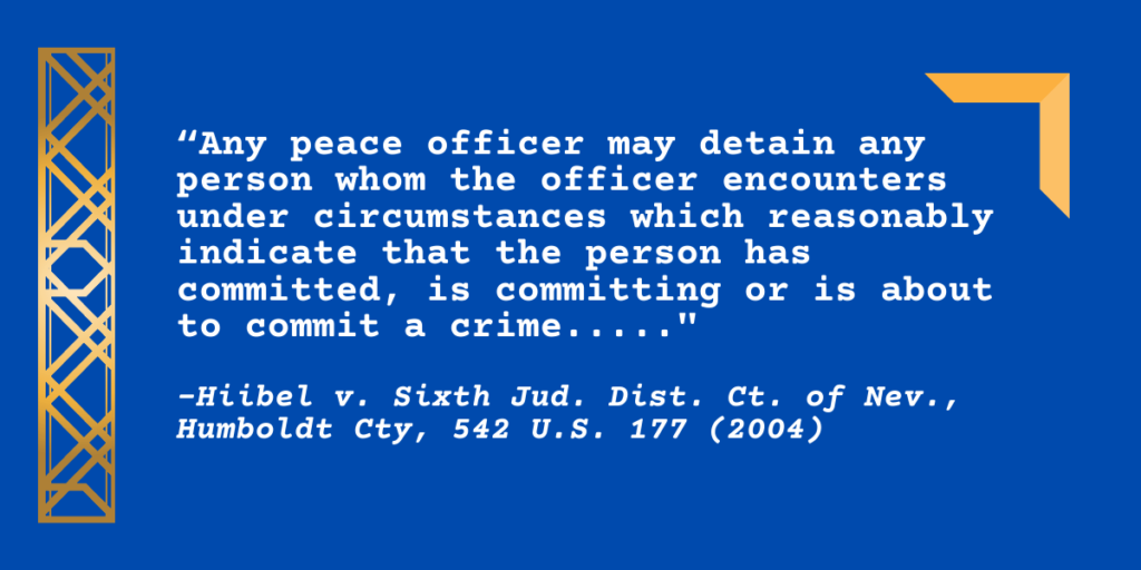 """""""1. Any peace officer may detain any person whom the officer encounters under circumstances which reasonably indicate that the person has committed, is committing or is about to commit a crime....."""""""