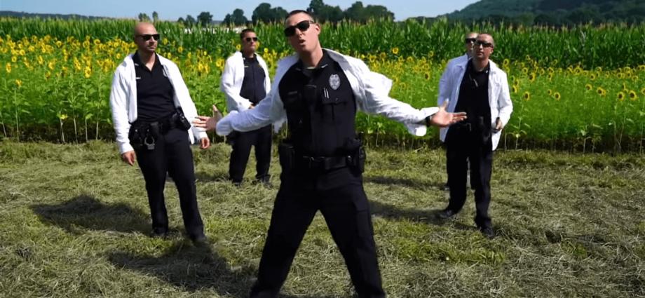 Police lip-sync music videos