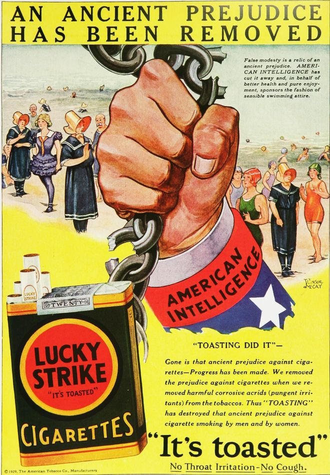 Bernays pr campaign calling cigarettes torches of freedom